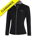 Leader Jacket for women by Antigua, black with contrast silver stitching. Sizes S-XXL