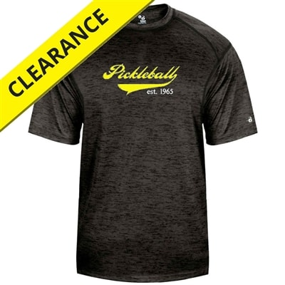 Heritage Tee for men with Pickleball swoop, Est. 1965 logo. Sizes S-3XL, Royal, Black
