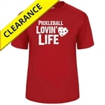 Red performance fabric shirt with Pickleball Lovin Life logo, sizes S-3XL
