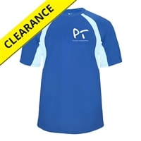 Blue, PickleballTournaments.com performance t-shirt for men, featuring the PickleballTournaments.com logo on the left chest.