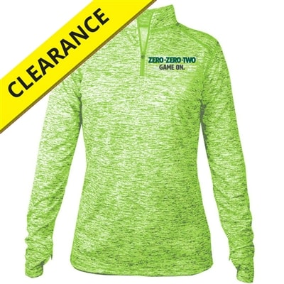 Impact Pullover for women features Zero-Zero-Two, Game On logo, sizes S-2XL, available in Pink or Lime