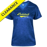 Heritage Tee for women with Pickleball swoop, Est. 1965 logo. Sizes S-2XL, Royal, Black, Hot Pink