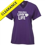 Hot Pink performance fabric shirt with Pickleball Lovin Life logo, sizes S-3XL