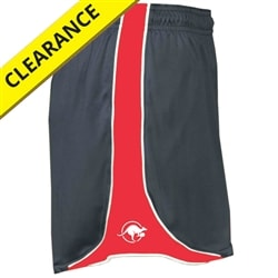 Kanga Pacer Shorts for women. Sizes S-2XL, black/hot pink/white or graphite/hot coral/white