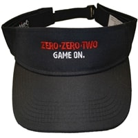 Visor with ZERO-ZERO-TWO  GAME ON graphic. Available in White and Black