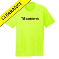 Performance fabric shirt for men, yellow with black and red lettering.  Available in sizes S-3XL
