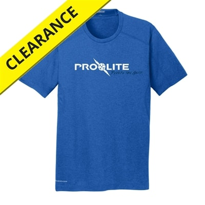 Performance fabric shirt for men, blue with silver lettering.  Available in sizes S-3XL
