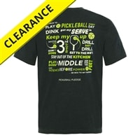 Cotton-blend t-shirt with pickleball pledge on the back. Sizes S-2XL, Royal, Black