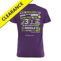Pledge to pickleball on back of cotton-blend shirt. Sizes S-2XL, Vintage Smoke, Vintage Purple