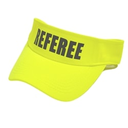 "Neon yellow Pickleball Referee Visor featuring ""Referee"" across the front in black, all capital letters."