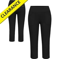 Black stretch capri pant with front and back pockets, sizes XS-2XL