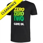 Bold green and yellow text adorn this t-shirt. Available in sizes S-2XL.
