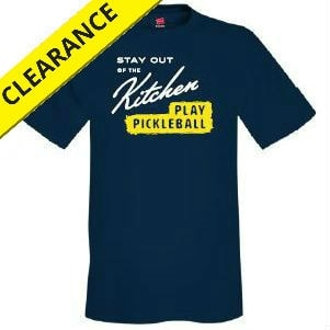 Stay Out of the Kitchen Shirt for Men in Navy or Deep Red with White and Yellow graphic.  Sizes S-2XL.