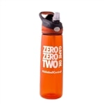 Our Premium Water Bottle comes in gray and orange, with the Zero Zero Two Game On logo screened in white.