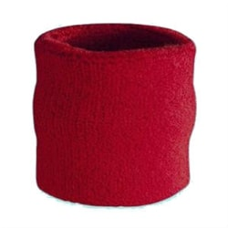 Red terry cloth cotton pickleball server wristband.