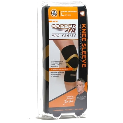 Copper Fit Pro Series Knee Sleeve, with kinesiology bands, sizes M-XXL.