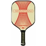 The Spartan aluminum core paddle from Engage is available in red, blue, purple, or black design on off/white background.