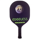 The HighWin Edgeless displays the world from afar on a smooth black background in a sleek edgeless design.