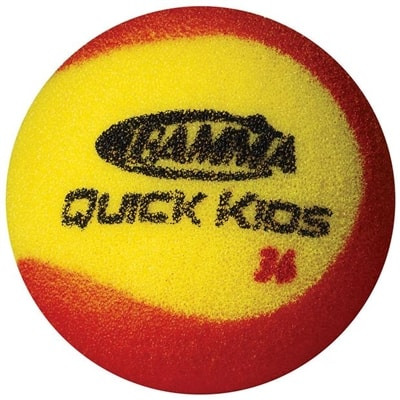 Quick Kids Practice Ball by Gamma is a yellow and red foam ball for training and practice drills.