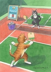 Cartoon Cats Playing Pickleball Birthday Card