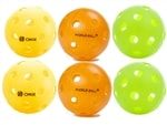 Sampler pack of indoor pickleballs in various colors:  Green Jugs, Yellow Pure 2 Indoor, and  Orange Big Hole Dura