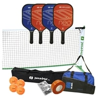 NEO Composite PIckleball Set - portable net, four paddles, four Jugs, duffel, tape and rule book