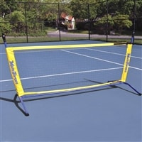 A smaller net with multiple target zones for practice drills or half court practice.
