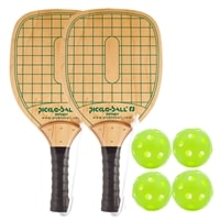 Swinger Wood Paddle Bundle- includes two wood paddles and four green Jugs balls