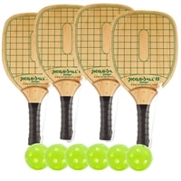 Swinger Wood Paddle Deluxe Bundle- includes four wood paddles and six green Jugs balls