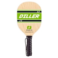 Diller Wood Paddle made from durable 7-layer plywood, green logo design, black handle wrap and wrist strap
