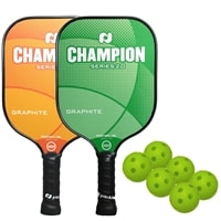 The Champion Bundle includes two graphite paddles and six balls.  Choose from Atlas Blue, Fire Red, or Solar Orange.