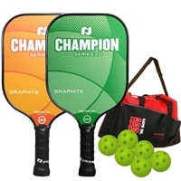 Champion Paddle Bundle with a Bag  - TWO Champion Pickleball Paddles, SIX Balls and ONE Duffle Bag
