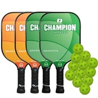 Champion Big Bundle - FOUR Graphite Paddles and TWELVE balls