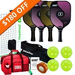 Legacy Pickleball Set - Portable Net, Four Paddles, Four Pickleballs, Bag, Tape and Rule Book