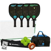 Venom Pickleball Set - Portable Net, Four Paddles, Four Pickleballs, Bag, Tape and Rule Book
