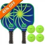 Vortex 2.0 Bundle includes two paddles and four balls.