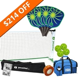Vortex 2.0 Pickleball Set - Portable Net, Four Paddles, Four Pickleballs, Bag, Tape and Rule Book