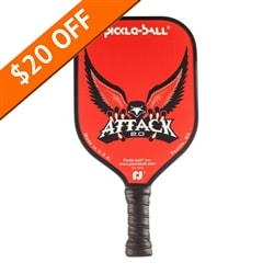 Attack 2.0 Paddle bearing the majestic eagle design in color choices of red, blue green, and gray with black cushion grip and black edge guard.