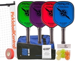 Classic Pickleball Set - Portable Net, Four Composite Paddles, Six Pickleballs, bag, and Rule Book