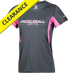Have Fun Pickleball Shirt for Women, choose from gray/pink or gray/blue color options, sizes S-2XL