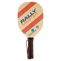 The Rally Meister wood paddle is cut from white maple with a high quality perforated, black cushion grip. Colorful orange and blue graphics are protected with satin varnish.