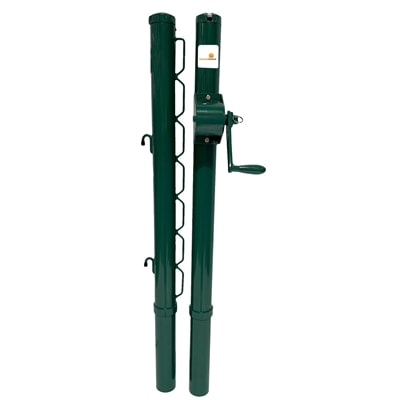 PickleballCentral Heavy-Duty Pickleball Net Posts are designed for permanent court installation, choose from black or green steel posts