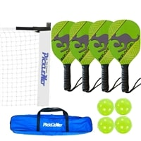 Kanga Set-Four wood paddles, portable net, and balls.