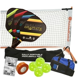 Rally Graphite Power 2.0 Pro Pickleball Set - portable net, four paddles, four Jugs, duffel, tape and rule book