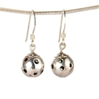 Sterling Silver Pickleball Dangle Earrings