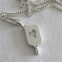 Sterling Silver Heart Silhouette Paddle Pendant, chain not included