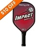 Impact Paddle, bold graphics lots of flashy color combinations, black edge guard and slim elongated handle