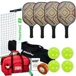 Element Pickleball Set - Portable Net, Four Paddles, Four Pickleballs, Bag, Tape and Rule Book