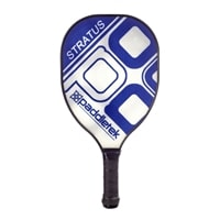 The Stratus Pickleball Paddle available in four colors including black, blue, pink, red, and yellow.
