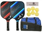 The Rally Graphite Bundle 2.0 includes two graphite paddles, six balls and duffle bag.  Choose from blue, red, green or yellow and standard or power models.